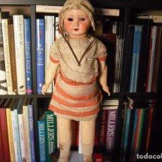 Muñeca española clasica: MUÑECA CATALANA1920 VESTIDO TODO DE ORIGEN, CABEZA PORCELANA,CUERPO MACHÈ,,60 CMS,OJOS DENTRO CABEZ. Lote 194302268