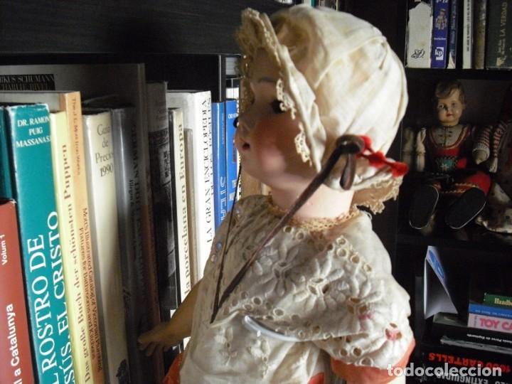 Muñeca española clasica: Muñeca catalana1920 vestido todo de origen, cabeza porcelana,cuerpo machè,,60 cms,ojos dentro cabez - Foto 8 - 194302268