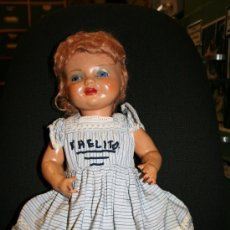 Muñeca española clasica: MUÑECA CHELITO ? DE PRIMERA ÉPOCA. MEDIADOS DE 1940. CON SU ROPA ORIGINAL. OJO DURMIENTE DE CRISTAL. Lote 194406838