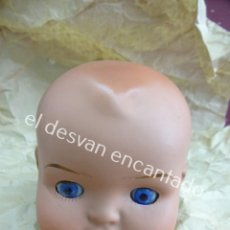 Muñeca española clasica: CABEZA DE MUÑECO DE TERRACOTA. OJOS MÓVILES. MARCADO EN LA NUCA. ALTURA 9 CTMS. Lote 194697617