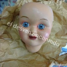 Muñeca española clasica: CABEZA DE MUÑECA DE CELULOIDE. OJOS FIJOS. EN ENVOLTORIO ORIGINAL. ALTURA 9 CTMS. Lote 194698045