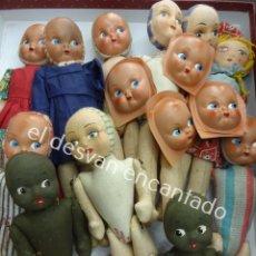 Muñeca española clasica: LOTE MUÑEQUITAS ANTIGUAS DE FIELTRO RELLENO Y CARAS DE TELA O CELUOIDE PINTADAS. VER FOTOS Y DESCRIP. Lote 194699845
