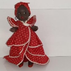 Muñeca española clasica: ANTIGUA MUÑECA NEGRA ESPAÑOLA DE TERRACOTA Y PAPEL MACHÉ AÑOS 40 / 50 ETNICA CUBANA. Lote 194748007