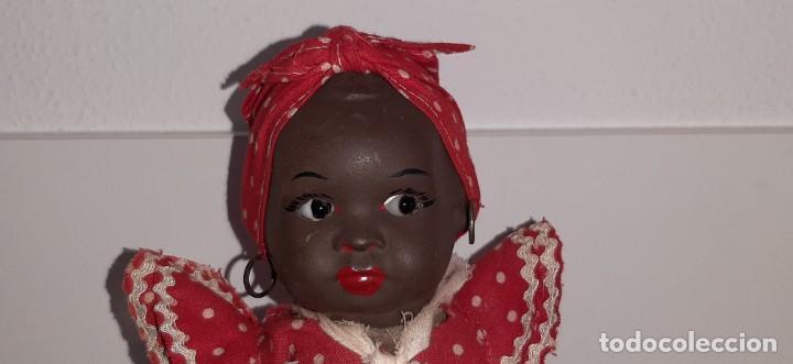 Muñeca española clasica: ANTIGUA MUÑECA NEGRA ESPAÑOLA DE TERRACOTA Y PAPEL MACHÉ AÑOS 40 / 50 ETNICA CUBANA - Foto 4 - 194748007