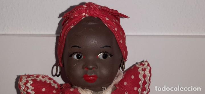 Muñeca española clasica: ANTIGUA MUÑECA NEGRA ESPAÑOLA DE TERRACOTA Y PAPEL MACHÉ AÑOS 40 / 50 ETNICA CUBANA - Foto 5 - 194748007