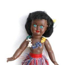 Muñeca española clasica: MUÑECA HAWAIANA NEGRITA, OJOS DURMIENTES. Lote 194908647