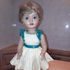 Muñeca española clasica: ANTIGUA MUÑECA CARTON PIEDRA, 47 CMS, OJOS DURMIENTES.. Lote 195021280