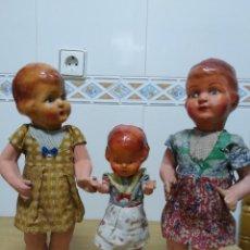 Muñeca española clasica: LOTE 3 HERMANAS AÑOS 40. Lote 195232921