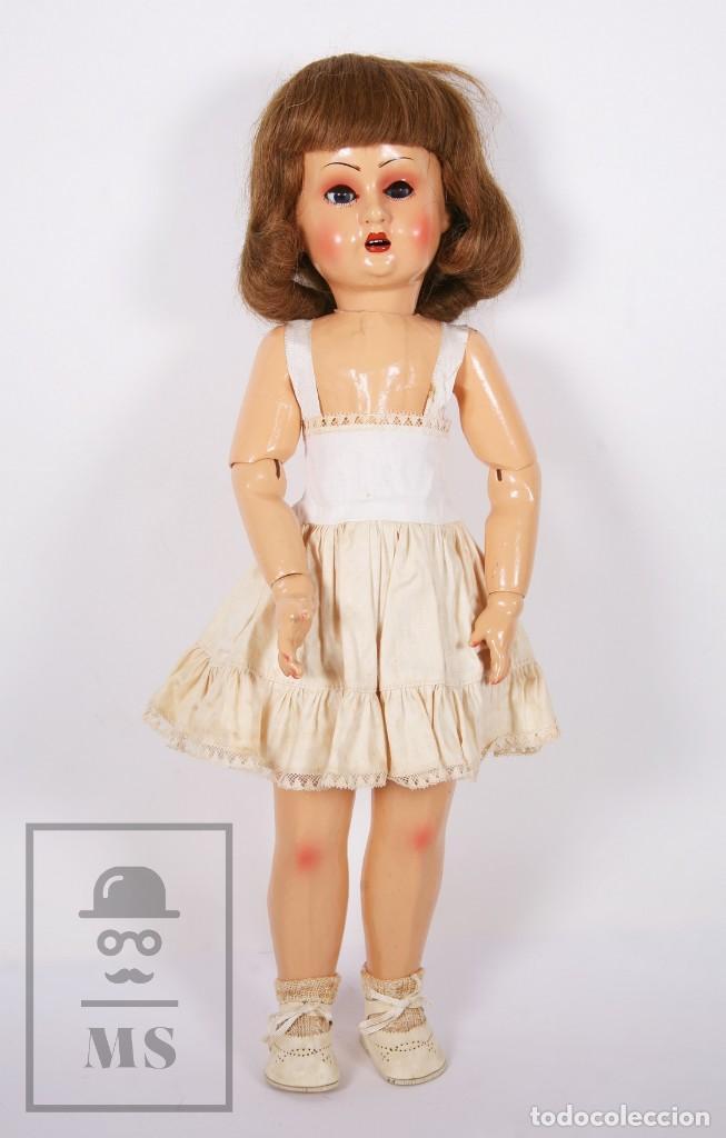 Muñeca española clasica: Antigua Muñeca Articulada de Composición y Madera - Ojos de Cristal - Años 40-50 - Foto 10 - 195299707
