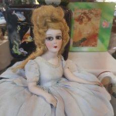 Muñeca española clasica: ANTIGUA MUÑECA PORCELANA BISCUIT MEDIO CUERPO SOBRE COJÍN. S XIX. Lote 195397730