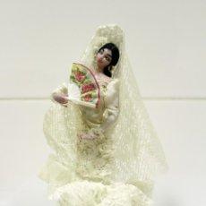 Muñeca española clasica: ANTIGUA MUÑECA AÑOS 50 TRAJE FLAMENCA BLANCO.. Lote 195482202