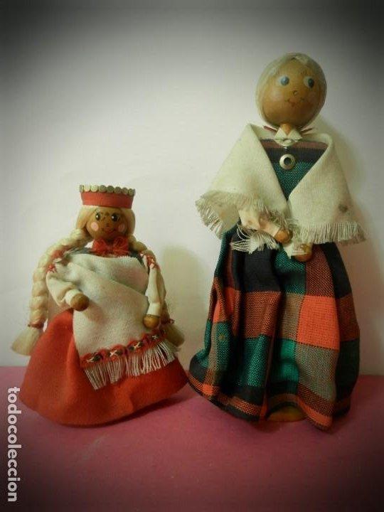 MUÑECAS DE MADERA ANTIGUAS PINTADAS A MANO MARCA DAILRADE (Juguetes - Otras Muñecas Españolas Clásicas (Hasta 1.960))