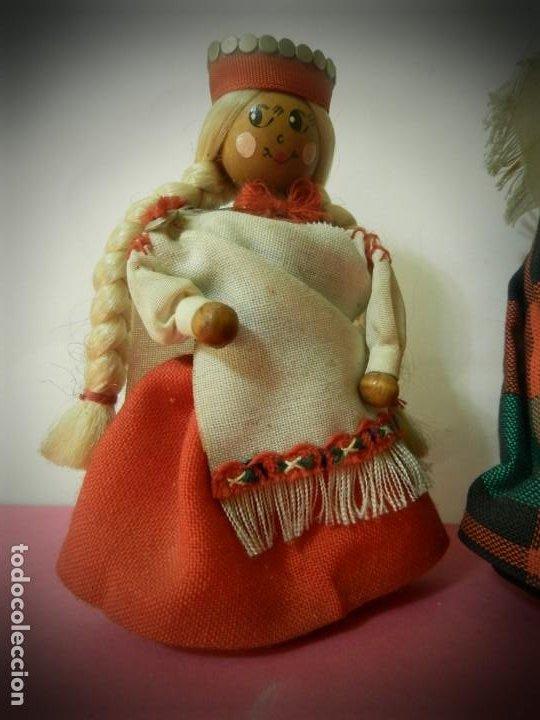 Muñeca española clasica: MUÑECAS DE MADERA ANTIGUAS PINTADAS A MANO MARCA DAILRADE - Foto 2 - 196742446
