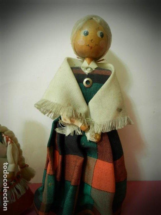 Muñeca española clasica: MUÑECAS DE MADERA ANTIGUAS PINTADAS A MANO MARCA DAILRADE - Foto 3 - 196742446