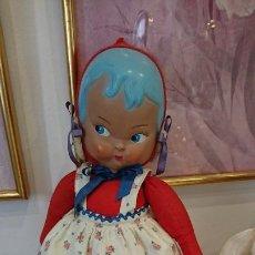 Muñeca española clasica: ANTIGUA MUÑECA ESPAÑOLA CARA DE CELULOIDE Y CUERPO DE TRAPO, AÑOS 40. HOLANDESA. Lote 197079447