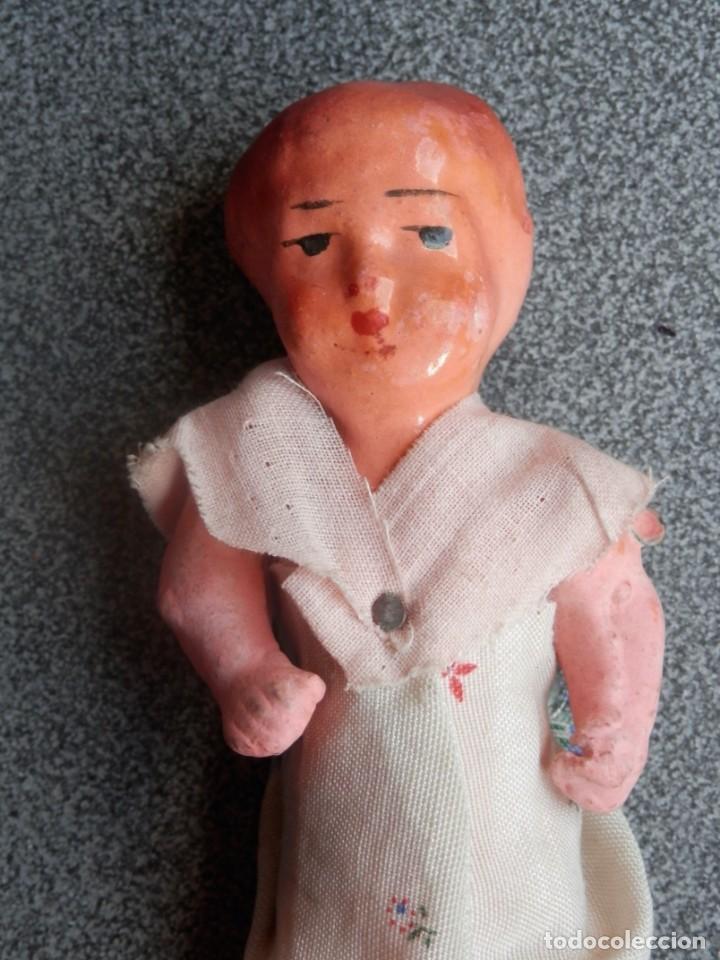 Muñeca española clasica: MUÑECA MUY ANTIGUA DE CARTÓN PIEDRA (SIN USAR) - 15 CENTÍMETROS - Foto 2 - 197217471