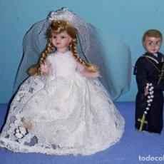 Muñeca española clasica: MUÑECO Y MUÑECA DE CELULOIDE DE TARTA AÑOS 50 OJOS DURMIENTES. Lote 201356786