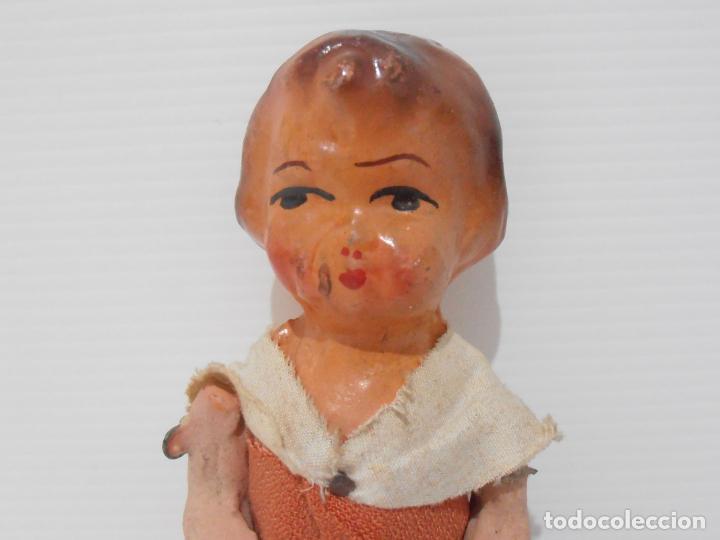 Muñeca española clasica: MUÑECA CARTON PIEDRA VESTIDO NARANJA 16 CM POSGUERRA AÑOS 40 - Foto 2 - 206156078