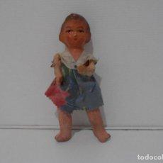 Muñeca española clasica: MUÑECA CARTON PIEDRA VESTIDO AZUL 16 CM POSGUERRA AÑOS 40. Lote 206156232
