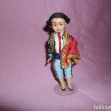 Muñeca española clasica: ANTIGUO MUÑECO TORERO DE CELULOIDE CON PEANA. Lote 219447341