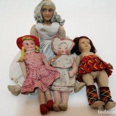 Muñeca española clasica: LOTE 4 MUÑECAS DE TRAPO ANTIGUAS, VARIADAS, (ALT. 70, 45, 39, 35 CM). Lote 222481073