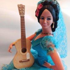 Muñeca española clasica: MUÑECA GITANA DE MARIN TURQUESA TAMAÑO GIGANTE DE 68 CM. Lote 222877078