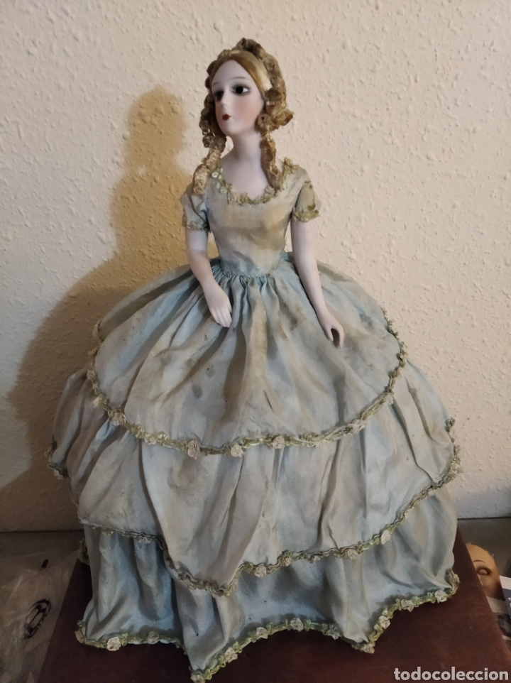 Muñeca española clasica: Antiguo costurero o joyero con muñeca de salón o boudoir - Foto 4 - 223726205