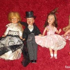Muñeca española clasica: LOTE DE TRES MUÑECAS Y UN MUÑECO PEQUEÑOS ANTIGUOS. Lote 224910971