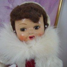 Muñeca española clasica: MUY BONITA Y ANTIGUA MUÑECA ESPAÑOLA AÑOS 40, CARTÓN PIEDRA,. Lote 225292277