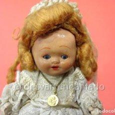 Bambola spagnola classica: MUÑEQUITA DE TERRACOTA DE PRIMERA COMUNION. OJOS DURMIENTES. 18 CTMS. Lote 226618055