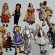 Muñeca española clasica: 10 MUÑECOS EN MADERA Y TELA ANTIGUOS, AÑOS 50/70. Lote 228840295