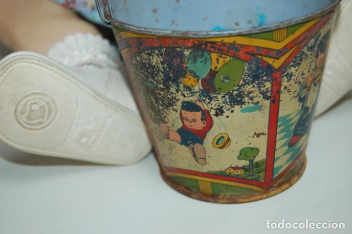 Muñeca española clasica: muñeca de composición con cubo y pala de lata - Foto 12 - 238397830