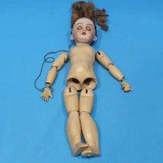 Muñeca española clasica: ANTIGUO MUÑECO - CABEZA DE PORCELANA, CUERPO DE MADERA Y OJOS DE CRISTAL. Lote 243988420