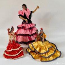 Muñeca española clasica: 3 ANTIGUAS FLAMENCAS DE TERRACOTA MUÑECAS MARÍN CHICLANA. Lote 261923765