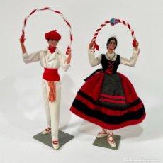 Muñeca española clasica: JOVEN VASCA Y JOVEN VASCO 22 Y 23 CM MUÑECAS MARÍN CHICLANA PAÍS VASCO. Lote 262270025