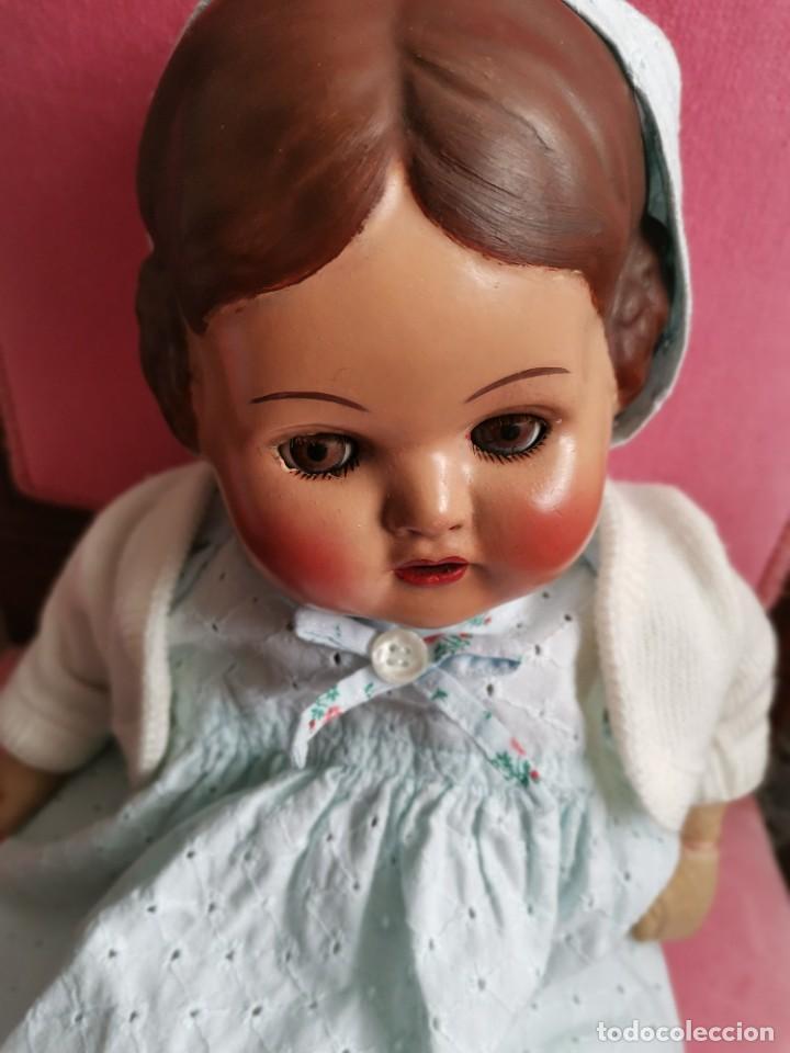 Muñeca española clasica: Antigua muñeca española cabeza de composición, resto de lienzo. Años 40/50 - Foto 2 - 225594210