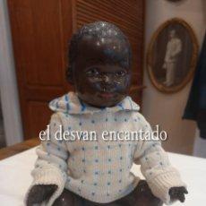Muñeca española clasica: MUÑECO NEGRITO DE CELULOIDE. VER FOTOS. MIDE 23 CTMS DE LARGO. Lote 264420969