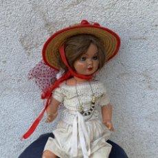 Muñeca española clasica: MUÑECA LILI COMPOSICION ESPAÑA HERMANA GISELA AÑOS 50 60 SOMBRERO PAJA FRUTAS 47X16CMS. Lote 265785239