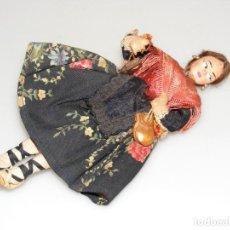 Muñeca española clasica: ANTIGUA MUÑECA DE FIELTRO CON TRAJE REGIONAL ARAGONÉS - 21 CMS.- CASTAÑUELAS DE MADERA.. Lote 267590194