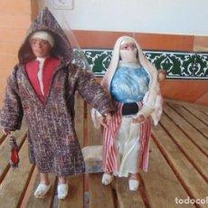 Muñeca española clasica: PAREJA DE MUÑECOS CON NIÑO A LA ESPALDA EN ESTUCO ,ALAMBRE Y TRAPO ,PINTADOS AL OLEO INDIOS ??. Lote 279446698