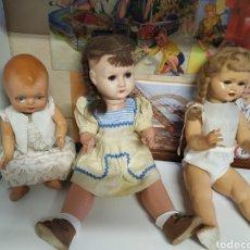Muñeca española clasica: LOTE 3 MUÑECAS MUY ANTIGUAS AÑOS 40. Lote 279455018
