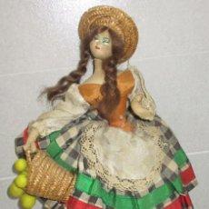 Muñeca española clasica: MUÑECA DE TELA, FIELTRO Y ALAMBRE, 29 CMTS, LAYNA, ROLDÁN O KLUMPE AÑOS 50-60. Lote 279469813
