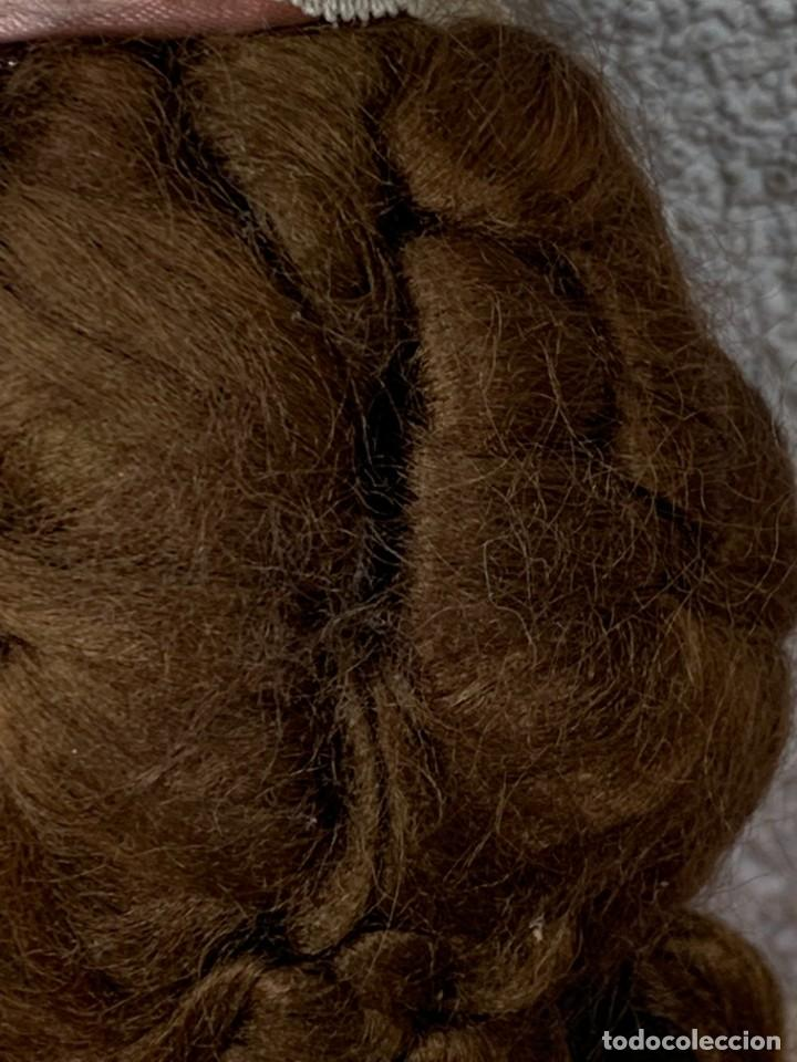 Muñeca española clasica: MUÑECA PORCELANA VESTIDO EPOCA SEDA ROSA ENCAJE PUNTILLA OJOS VIDRIO PINTADA MANO 47X17X10CMS - Foto 17 - 287558983