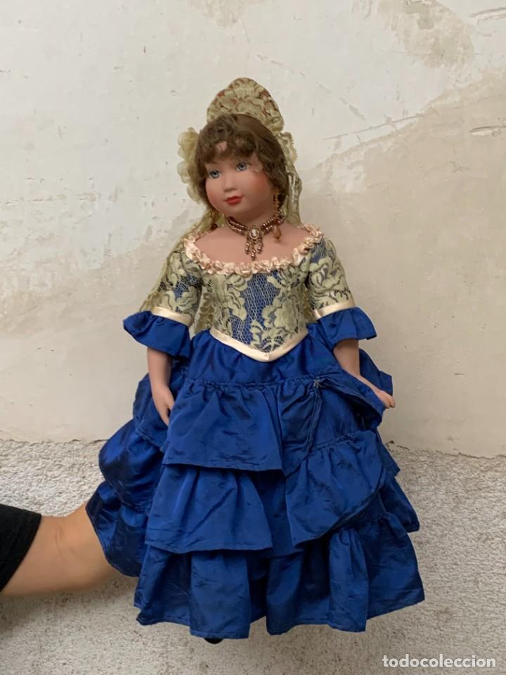 Muñeca española clasica: MUÑECA PORCELANA PINTADA MANO MARCA MENTA Y CANELA DE MARIN NOVIA ANDALUZA 51X23X10CMS - Foto 27 - 287655808