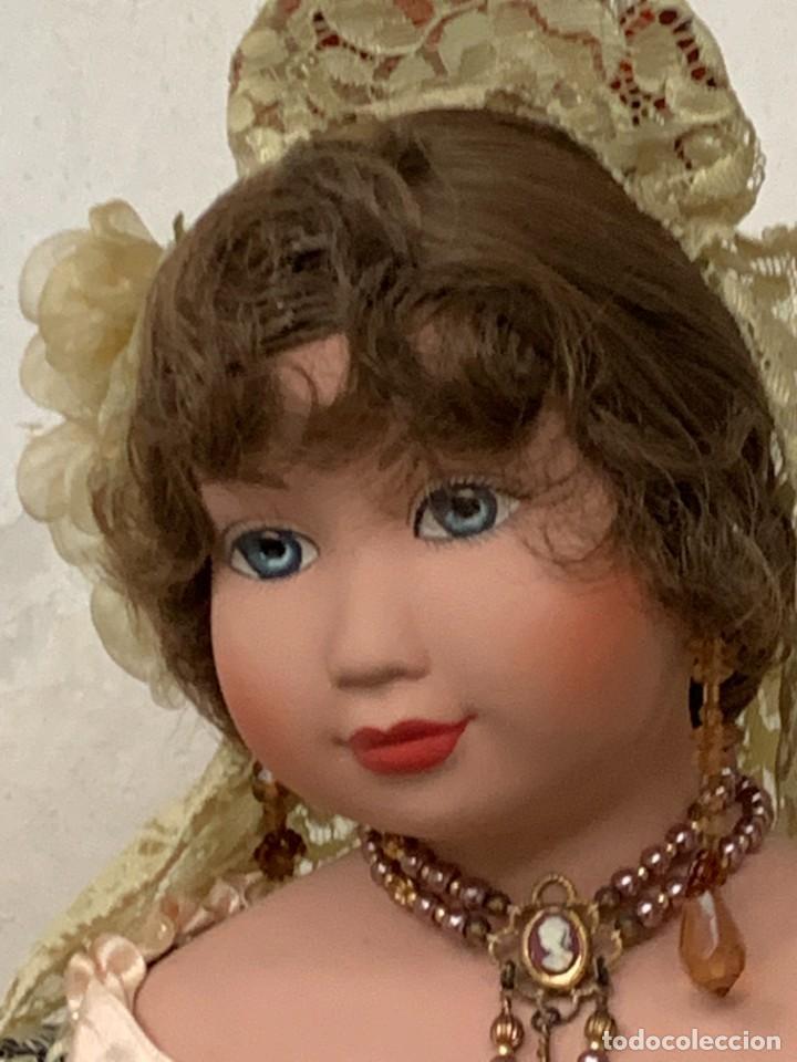 Muñeca española clasica: MUÑECA PORCELANA PINTADA MANO MARCA MENTA Y CANELA DE MARIN NOVIA ANDALUZA 51X23X10CMS - Foto 29 - 287655808