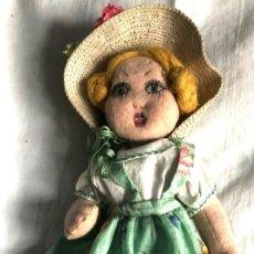 Muñeca española clasica: MUÑECA ESPAÑOLA EN TRAPO. PINTADA A MANO. AÑOS 30-40. Lote 294045668