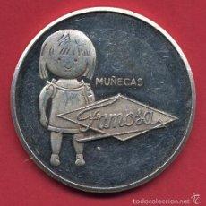 Muñecas Lesly y Barriguitas: MEDALLA , 1 ONZA PLATA , PUBLICIDAD DE MUÑECAS FAMOSA ALICANTE , 1982, 25 AÑOS ,ORIGINAL, ALJ12. Lote 56739179