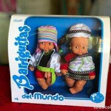 Muñecas Lesly y Barriguitas: PAREJA DE BARRIGUITAS POR EL MUNDO REEDICIÓN FAMOSA ÉPOCA NANCY EN CAJA. Lote 166036798