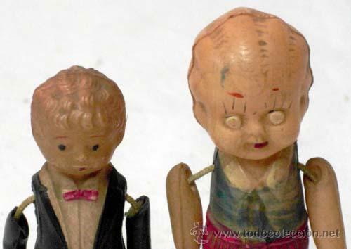 Muñecas Celuloide: 2 Muñequitos de celuloide japoneses años 20 8 cm y 6 cm alto - Foto 2 - 8702005