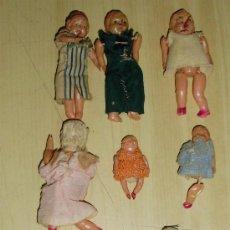 Muñecas Celuloide: - LOTE DE 8 ANTIGUAS MUÑECAS TELA Y PASTA WU JAPON MUÑECA. Lote 105232188